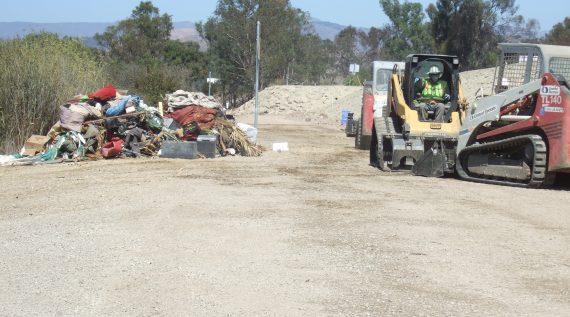 debris collection site at the Ventura River